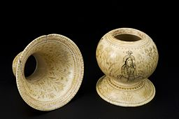 Ivory_spittoon_(cuspidor),_decorated_with_depictions_of_four_Wellcome_L0058705